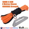 10MM x 30M Dyneema Winch Rope 254mm Offset Fairlead Synthetic 4WD Tow ORG