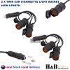 2x 12V DC Car Twin Cigarette lighter Extension Socket Plug Charge Lead Cover