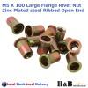 M5 X 100 Nutserts Rivet Nuts Flange Blind Rivnuts Zinc Plated Steel Nut Nutsert