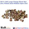 M4 X 100 Nutserts Rivet Nuts Flange Blind Rivnuts Zinc Plated Steel Nut Nutsert