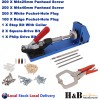 Pocket Hole Drill Jig System Woodworking Drilling Tools Kit Drill Guide C Clamp