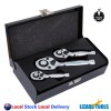 Trade Grade Cr-V Stubby Ratchet 1/2 3/8 1/4 Drive Wrench Spanner Handle Tools