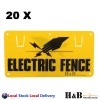 20X Electric Fence Caution Warning Sign Hook Tie To Wire Mesh Rope