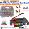 1110 Pcs Heavy Duty Nut Rivet Riveter Rivnut Nutsert Gun Riveting Kit M3-M12