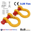2 x Bow Shackle WLL 3.25 Ton Rated 16mm 4WD Recovery Tow Car Trailer Yellow