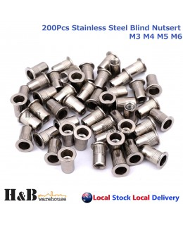 200Pcs Nutserts Rivet Nuts Flange Blind Rivnuts Stainless Steel M3 M4 M5 M6