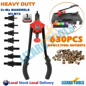630Pcs Nut Gun Nutsert Tool Rivets M3-12 Mandrels Thread Riveting Rivnut Riveter