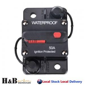 50AMP A Circuit Breaker Dual Battery IP67 Waterproof 12V 24V Fuse Manual Reset