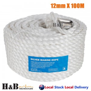 12mm x 100M Anchor Marine Rope Boat Mooring Line Stainless Steel Thimble
