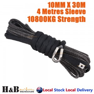 BLK 10MM x 30M Dyneema Winch Rope Synthetic Cable 4WD Tow Recovery