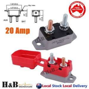20A AMP 12V Circuit Breaker & Cover Dual Battery Fuse Automatic Auto Reset