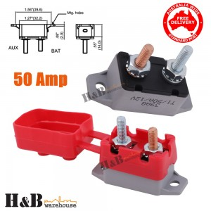 50A AMP 12V Circuit Breaker & Cover Dual Battery Fuse Automatic Auto Reset