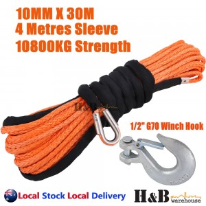 "10MM x 30M 1/2"" G70 Hook Dyneema Winch Rope Synthetic Cable 4WD Recovery ORG"