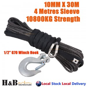 "10MM x 30M 1/2"" G70 Hook Dyneema Winch Rope Synthetic Cable 4WD Recovery BLK"