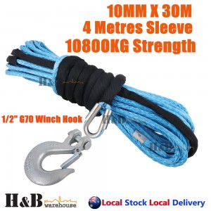 "10MM x 30M 1/2"" G70 Hook Dyneema Winch Rope Synthetic Cable 4WD Recovery BLU"