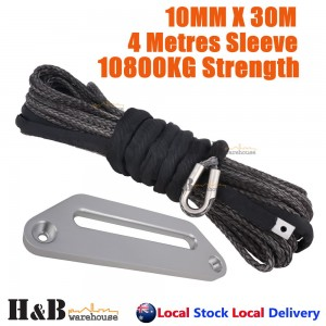 BLK Dyneema Winch Rope 10MM x 30M 254mm Offset Fairlead Synthetic Cable 4WD