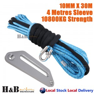 10MM x 30M Dyneema Winch Rope 254mm Offset Fairlead Synthetic 4WD Tow BLU