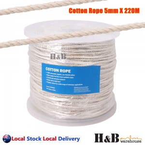 5mm x 220M Macrame Rope 100% Natural Cotton Cord 3 Strand Twisted Hand Craft