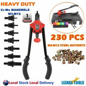 230Pcs Heavy Duty Rivet Nut Rivnut Tool Kit Nutsert Gun  Nutserts M3-M12