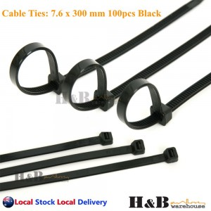 100 Pcs Cable Tie UV Stabilised Black 7.6x300 mm Nylon Cable Ties Zip