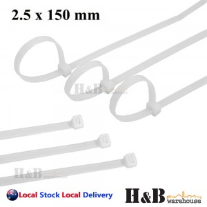 100 Pcs Cable Tie High Quality White 2.5x150 mm Nylon Cable Ties Zip