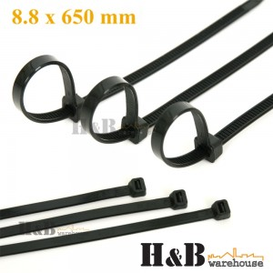 100 Pcs Cable Tie High Quality Black 8.8x650 mm Nylon Cable Ties Zip