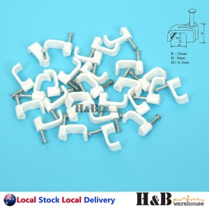 100 PCS 12mm Cable Clips Flat Clips Electrical Plastic Steel Nail
