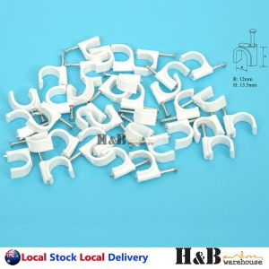 100 PCS 12mm Cable Clips Circle Round Clips Electrical Plastic Nail