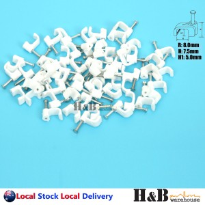 100 PCS 8mm Cable Clips Flat Clips Electrical Plastic Steel Nail