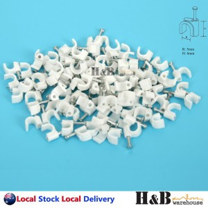 100 PCS 5mm Cable Clips Circle Round Clips Electrical Plastic Nail