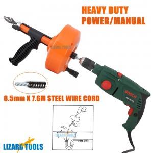 Pro Power Manual Drain Snake Cleaner Plumbing Sink Pipe Unblocker Auger Plunger