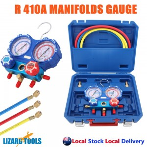 "Genuine Air Manifold Gauge Tool set R410a Refrigeration 1/4"" 5/16"" Adaptor"