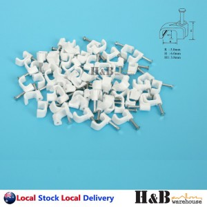 100 PCS 5mm Cable Clips Flat Clips Electrical Plastic Steel Nail