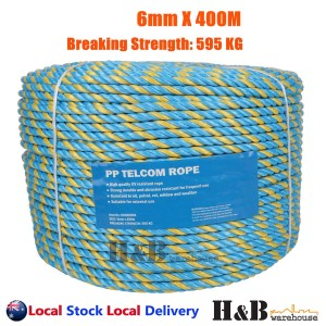 Telstra Rope 6mm x 400M Parramatta Coils Breaking Strength Tested 595KG