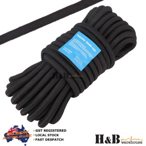 8mm X 10M High Tenacity Black Polyster Elastic Rope Shock Core Bungee Tie Down