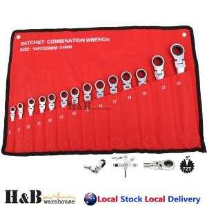 14 Pcs Trade Grade Ratchet Flex Head Gear Spanner Set CR-V Metric 8-24mm sale