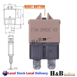 7.5A AMP Circuit Breaker STD Blade ATC Fuse Blocks Max 28Vdc Manual Reset