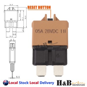 5A AMP Circuit Breaker STD Blade ATC Fuse Blocks Max 28Vdc Manual Reset