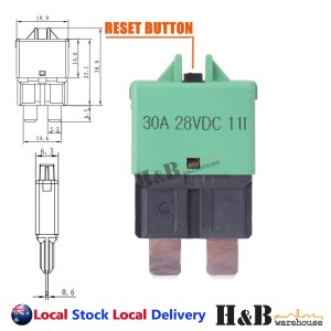 30A AMP Circuit Breaker STD Blade ATC Fuse Blocks Max 28Vdc Manual Reset
