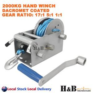 2000KG Hand Winch Dyneema Rope 3 Speed 7mm X 8M Winch Rope Marine Boat Trailer