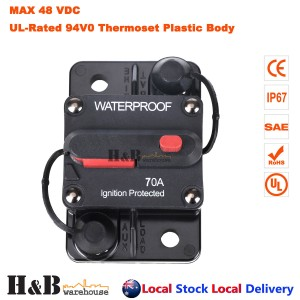 70A AMP Circuit Breaker Dual Battery IP67 Waterproof 12V 24V Fuse Manual Reset