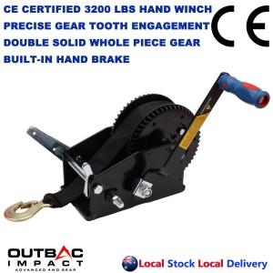 Heavy Duty 3200 LBS Hand Winch Double Gear Hand Break Marine Taiwan Made