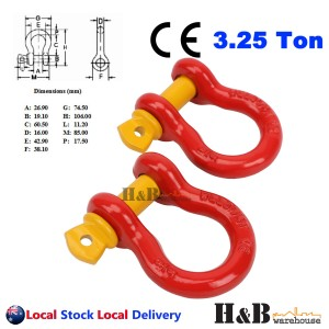 2 x Bow Shackle WLL 3.25 Ton Rated 16mm 4WD Recovery Tow Car Trailer Red