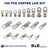 100 Pcs Copper Cable Lug Kit Battery terminal Lug Crimper SC6-6 ~SC35-10