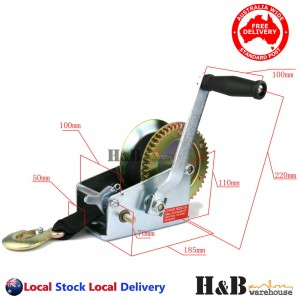 2000 LBS Hand Winch 2-Speed 8M Strap Heavy Duty Boat Trailer 4WD Towing