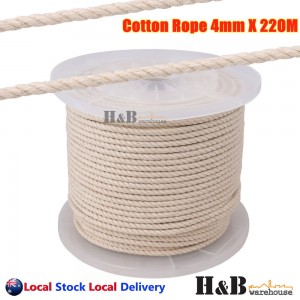 4mm x 220M Macrame Rope 100% Natural Cotton Cord 3 Strand Twisted Hand Craft