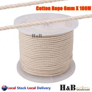 6mm x 100M Macrame Rope 100% Natural Cotton Cord 3 Strand Twisted Hand Craft