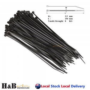 100 Pcs Cable Tie High Quality Black 2.5x150 mm Nylon Cable Ties Zip