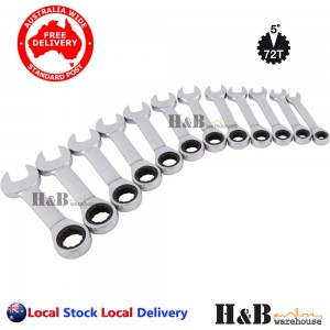 12 Pcs Trade Grade Stubby Ratchet Gear Wrench Spanner Set CR-V 8 -19mm