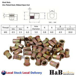 M3 X 100 Nutserts Rivet Nuts Flange Blind Rivnuts Zinc Plated Steel Nut Nutsert